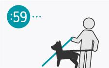 desenho de pessoa com bengala e com um cão
