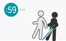 desenho de pessoa com bengala a agarrar o braço de outra pessoa