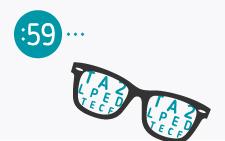óculos com letras de vários tamanhos